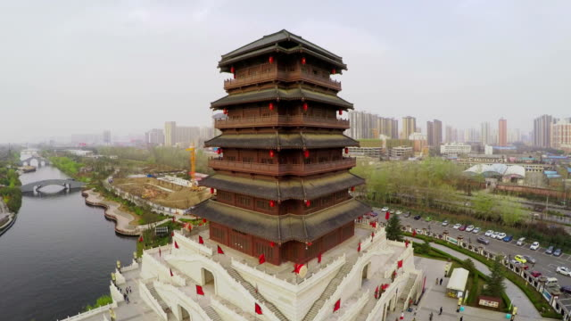 ws aerial shot of china classical style building - classical style stock videos & royalty-free footage