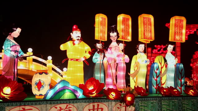 stockvideo's en b-roll-footage met ms shot of chinese lanterns for celebrating spring festival / xian, china - chinees nieuwjaar