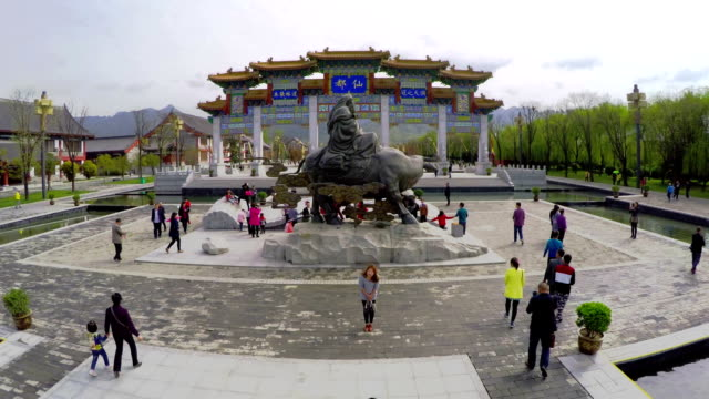 ws aerial shot of chinese taoism cultural exhibition area, xi'an,shaanxi,china. - besichtigung stock-videos und b-roll-filmmaterial