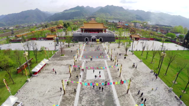 ws aerial shot of  chinese taoism cultural exhibition area, xi'an,shaanxi,china. - female likeness stock videos & royalty-free footage