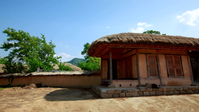 shot of chogajip(thatched roof house) at andong hahoe village (unesco world heritage site) - thatched roof stock videos & royalty-free footage