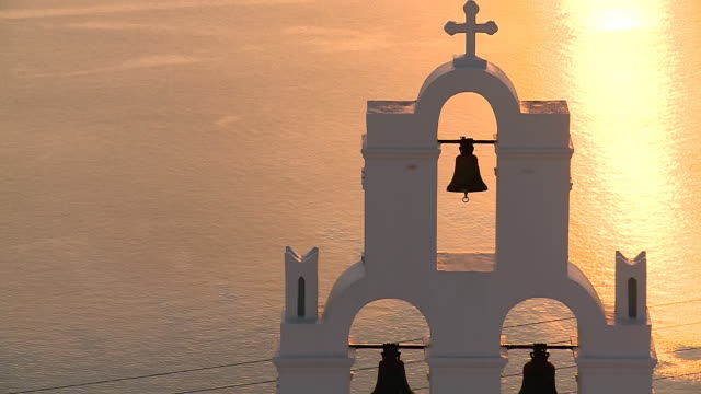 CU ZO Shot of church bells in Firostefani / Santorini, Cyclades, Greece
