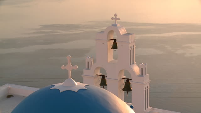 MS Shot of church dome in Firostefani / Santorini, Cyclades, Greece