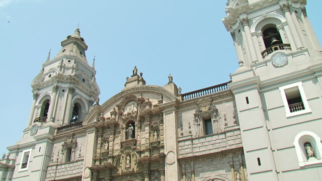 ms tu shot of church / lima, peru - lima peru stock videos and b-roll footage