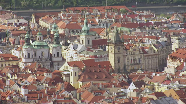 ms aerial shot of church of st. nicholas church / prague, czech republic - prague stock videos & royalty-free footage