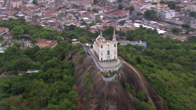 CU AERIAL ZO Shot of church on hill / Rio de Janeiro, Brazil