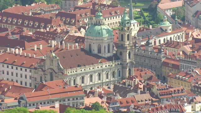 MS AERIAL Shot of church / Prague, Czech Republic
