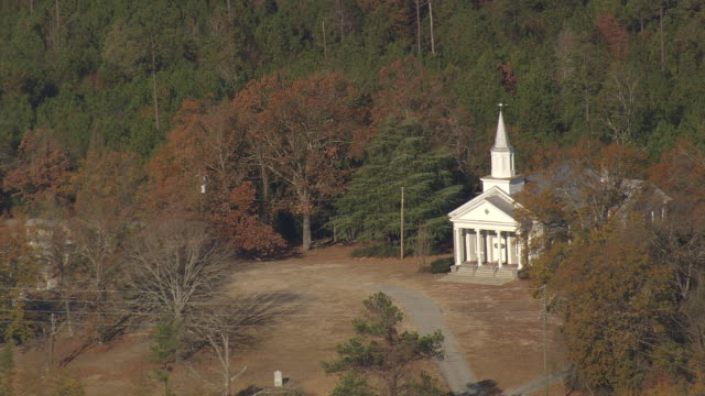 ms aerial shot of church / south carolina, united states - southern usa stock videos & royalty-free footage
