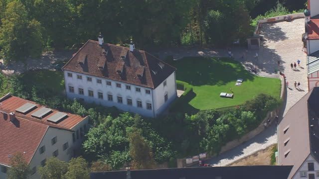CU AERIAL TS Shot of Church surrounding by trees and field / Andechs, Bavaria, Germany