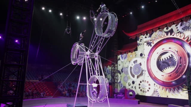 ws shot of circus performer performing acrobatic in big top / xian, shaanxi, china  - circus stock videos & royalty-free footage