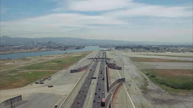 WS AERIAL POV Shot of city highway / Unspecified