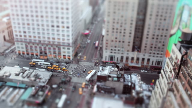 WS Shot of city intersection in daytime / New York, United States