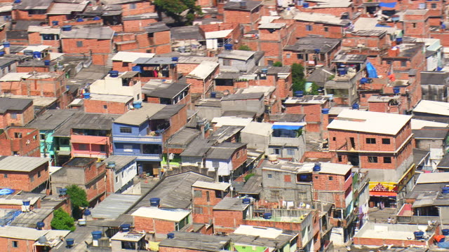 ms aerial shot of city / sao paulo, brazil - slum stock-videos und b-roll-filmmaterial