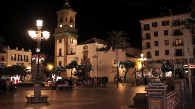 ms shot of city square and church / algeciras, cadiz, spain  - cádiz stock videos and b-roll footage