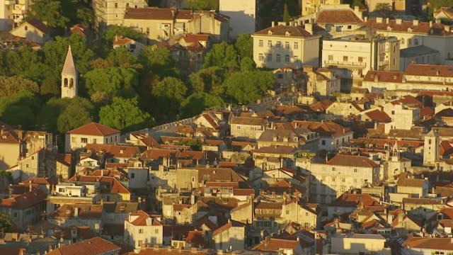 MS AERIAL Shot of city under sunlight / Split, Split Dalmatia County, Croatia