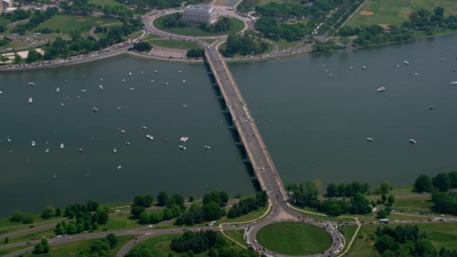 """WS HA AERIAL Shot of city  / Washington DC, United States"""