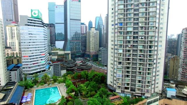 ws aerial shot of cityscape and skyline/ chongqing,china - 新疆ウイグル自治区点の映像素材/bロール