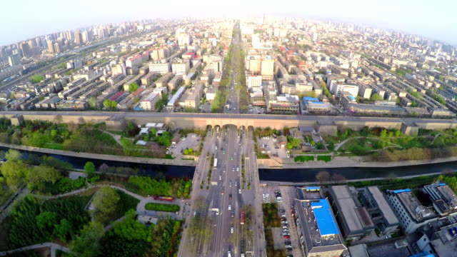 WS AERIAL Shot of citywall and cityscape at sunset, Xi'an,China.