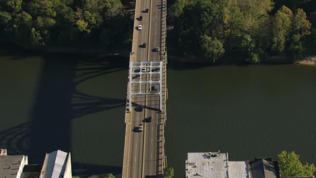 MS AERIAL Shot of civil rights street route to Edmund Pettus Bridge / Selma, Alabama, United States