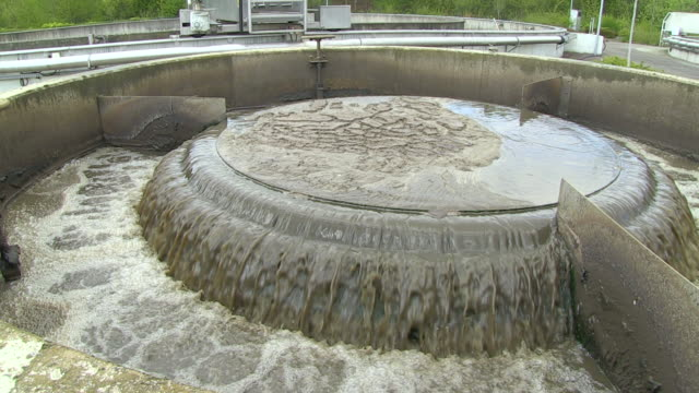 ms shot of clarifying basin at purification plant / konz, rhineland-palatinate, germany - sewage treatment plant stock videos & royalty-free footage