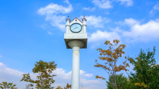 Shot of clear sky and clock tower at Hangang Park