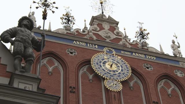 MS LA Shot of Clock and Statue / Riga, Latvia
