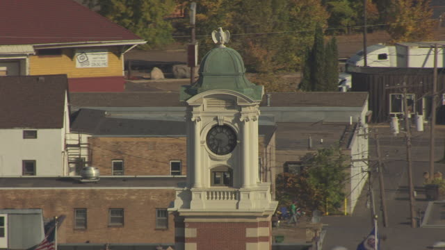 cu aerial td shot of clock tower and courthouse / hibbing, minnesota, united states - clock tower stock videos and b-roll footage