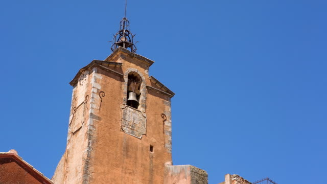 ms shot of clock tower at ocre village / roussillon, provence, france - provence alpes cote d'azur stock videos & royalty-free footage