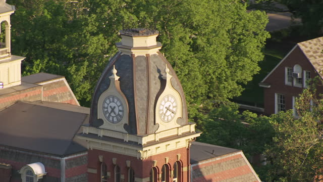 cu ts aerial shot of clock tower at west virginia university campus / morgantown, west virginia, united states - university of virginia stock videos & royalty-free footage