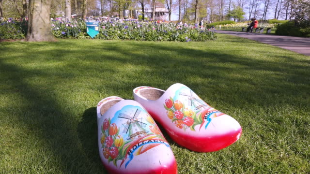 cu shot of clogs at keukenhof gardens / lisse, south holland, netherlands - south holland stock videos and b-roll footage