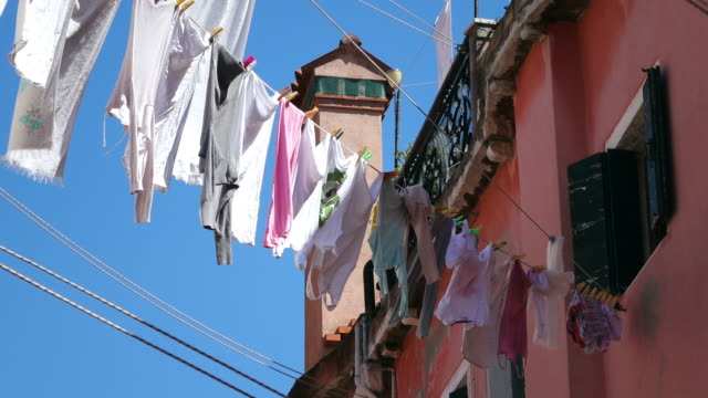 ms la shot of cloth lines between houses, arsenale / venice, veneto, italy - laundry stock videos & royalty-free footage