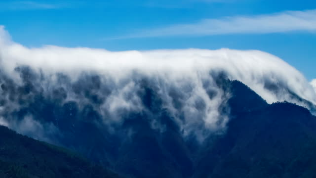 T/L shot of Cloud waterfall in Western Sichuan/Sichuan,China