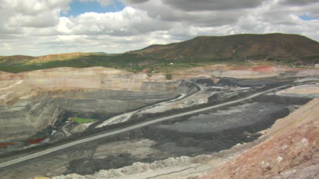 vídeos y material grabado en eventos de stock de ws pan shot of coal mine / andorra, teruel, spain - comunidad autónoma de aragón