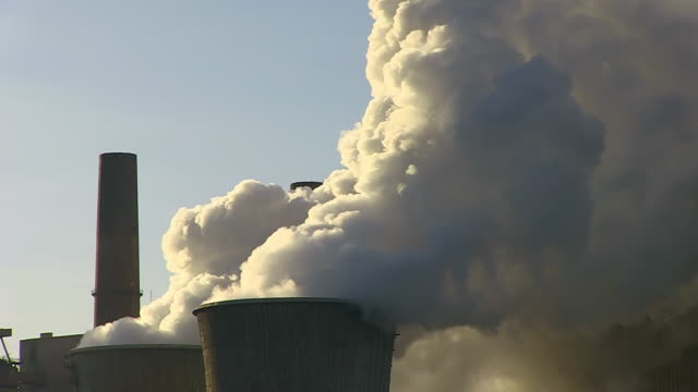 CU Shot of Coal power plant Neurath / Neurath, North Rhine Westphalia, Germany