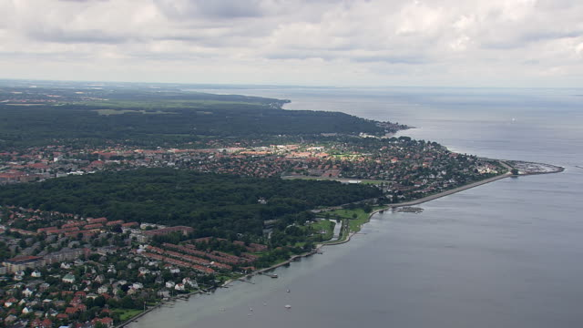 WS AERIAL ZI Shot of Coast looking north from Copenhagen / Copenhagen, Denmark