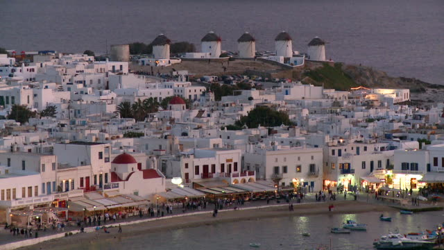 ms shot of coastal town at night / mykonos, cyclades, greece - mykonos stock videos and b-roll footage