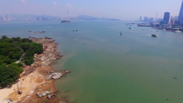 WS AERIAL shot of coastline of Gulangyu Island/Xiamen,Fujian,China