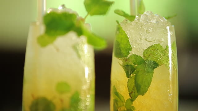 ecu tu shot of cocktails, mojitos / mahe, seychelles - mint leaf culinary stock videos and b-roll footage