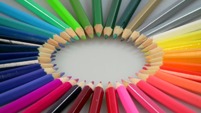 cu shot of color pencils / saarburg, rhineland palatinate, germany - colored pencil stock videos and b-roll footage