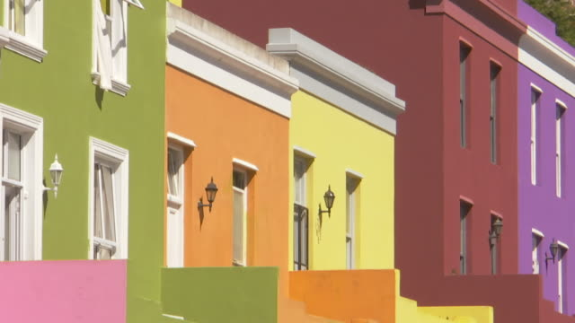 MS Shot of Colorful houses in Bo Kaap / Cape Town, Western Cape, South Africa