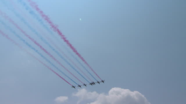 shot of combat aircraft show for kyeongkiansan sky festival - track imprint stock videos and b-roll footage