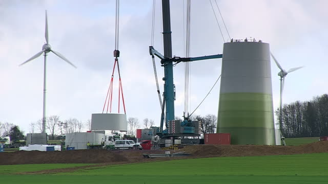 MS T/L Shot of Construction of windturbine / Kirf, Rhineland Palatinate, Germany