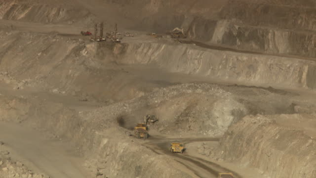 MS Shot of construction site on open cast mine / Namibia