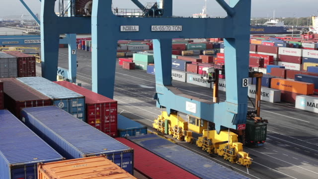 MS T/L Shot of container terminal from cargo ship / Gothenburg, Västergötland, Sweden