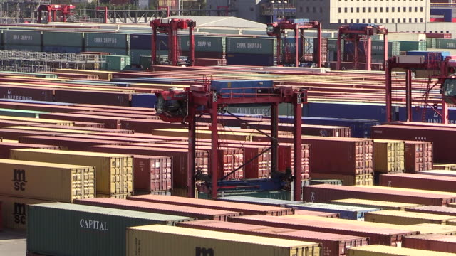 MS Shot of container terminal with trolley in harbour / Hamburg, Germany