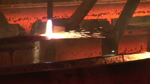 MS PAN Shot of continnous casting line at steel mill / Esch sur Alzette, Esch, Luxembourg