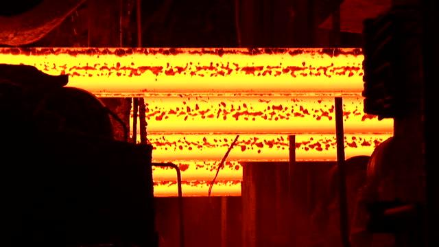 MS ZI Shot of continnous casting line at steel mill / Volklingen, Saarland, Germany
