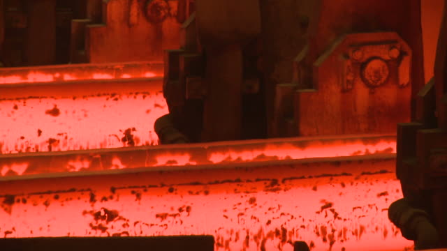 ecu shot of continous casting plant at steel works / esch sur alzette, esch, luxembourg - alloy stock videos & royalty-free footage