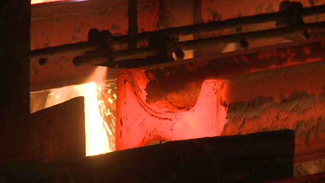 cu shot of continous casting plant at steel works / esch sur alzette, esch, luxembourg - alloy stock videos & royalty-free footage