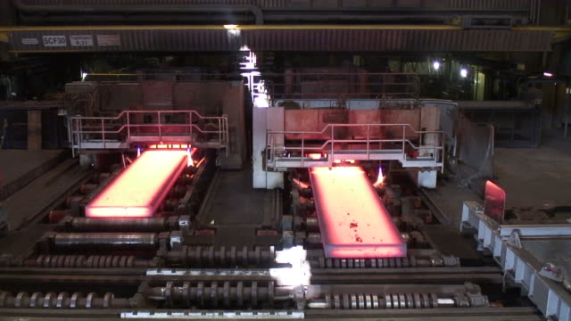 ws shot of continuous casting plant  / mulheim, north rhine- westphalia, germany - continuity stock videos and b-roll footage